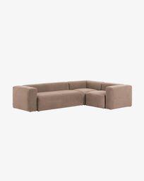 Γωνιακός καναπές 4θ Grey Blok 320 x 230 εκ, ροζ