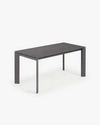 Extendable table Axis 160 (220) cm porcelain Vulcano Roca finish anthracite legs