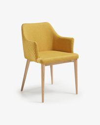 Καρέκλα Croft, φυσικό φινίρισμα και μουσταρδί