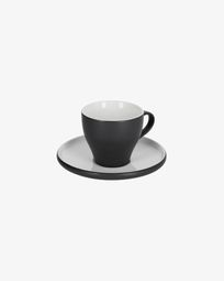 Κούπα καφέ και πιατάκι Sadashi, μαύρη και άσπρη πορσελάνη