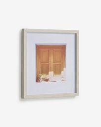 Πίνακας Leyla 40 x 40 εκ, σπίτι με καφέ παράθυρο