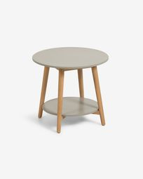 Nina side table made from poly cement and solid eucalyptus wood Ø 50 cm FSC 100%