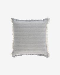 Devi cushion cover with beige and blue fringe 45 x 45 cm