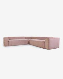 Γωνιακός καναπές 6θ Blok, 320 x 320 εκ, ροζ κοτλέ