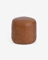 Cesia 40 cm round brown buffalo hide pouffe
