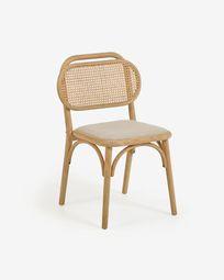 Καρέκλα Doriane, μασίφ βελανιδιά σε φυσικό φινίρισμα και ταπετσαρισμένο κάθισμα