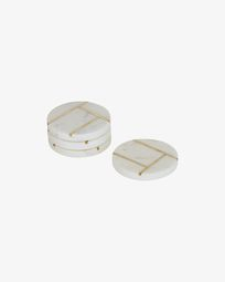 Tahis set of 4 coasters in white marble