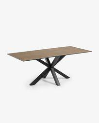 Τραπέζι Argo 200 εκ, πορσελάνη με φινίρισμα Iron Corten και μαύρα πόδια