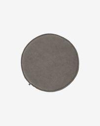 Sora round corduroy chair cushion in grey, 35 cm