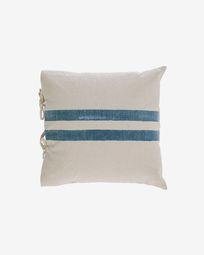Κάλυμμα μαξιλαριού Ziza, 100% βαμβάκι, 45 x 45 εκ, χοντρές μπλε και άσπρες ρίγες