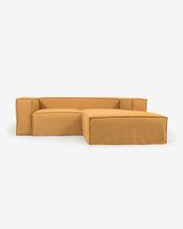 2θ καναπές Blok με ανάκλινδρο δεξιά και αποσπώμενα καλύμματα, μουσταρδί λινό, 240εκ