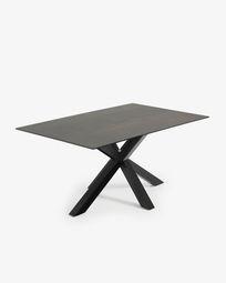 Τραπέζι Argo 160 εκ, πορσελάνη με φινίρισμα Iron Moss και μαύρα πόδια