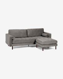 Debra 3-seater sofa with footrest in grey velvet 222 cm
