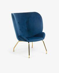 Πολυθρόνα Violet, μπλε βελούδο