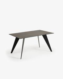 Koda table 160 cm porcelain Iron Moss finish black legs