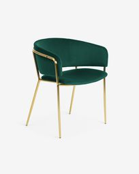 Runnie green velvet chair with steel legs and gold finish