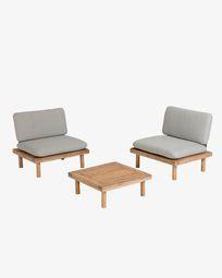 Viridis 2 armchairs and 1 table set FSC 100%