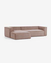 3θ καναπές με ανάκλινδρο αριστερά Blok, 300 εκ, ροζ κοτλέ
