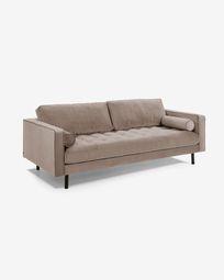 Debra 3-seater sofa in taupe velvet 222 cm