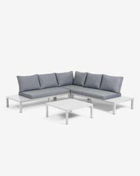 Γωνιακός καναπές και τραπέζι Duka, λευκό αλουμίνιο