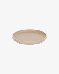 Shun dessert plate in beige porcelain
