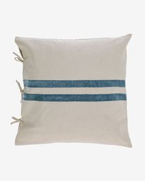Ziza 100% cotton cushion cover with thick blue and white stripes 60 x 60 cm
