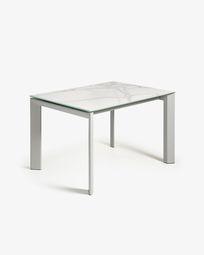 Ανοιγόμενο τραπέζι Axis 120 (180) εκ λευκή πορσελάνη Kalos και γκρι πόδια