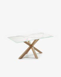 Τραπέζι Argo 160 εκ, πορσελάνη και πόδια με εφέ ξύλου