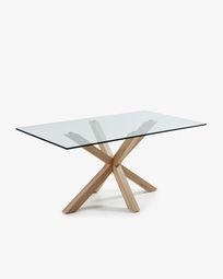 Τραπέζι Argo 180 εκ, γυαλί και πόδια με εφέ ξύλου