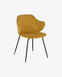 Καρέκλα Suanne, μουσταρδί-κίτρινο βελούδο