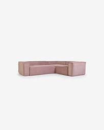 Γωνιακός καναπές 3θ Blok, 290 x 230 εκ, ροζ κοτλέ