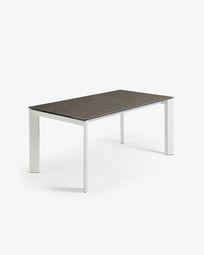 Extendable table Axis 140 (200) cm porcelain Vulcano Ash finish white legs
