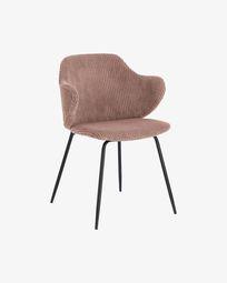 Καρέκλα Suanne, σκληρό ροζ κοτλέ
