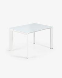 Ανοιγόμενο τραπέζι Axis 120 (180) εκ, λευκό γυαλί και λευκά πόδια