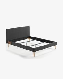 Dyla bed in graphite with solid beech legs 160 x 200 cm