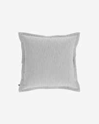 Βαμβακερό κάλυμμα μαξιλαριού Aleria, γκρι και λευκές ρίγες 45 x 45 εκ