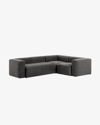 Γωνιακός καναπές 3θ Blok 290 x 230 εκ, γκρι