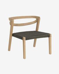 Πολυθρόνα Ezilda, μασίφ ξύλο ευκαλύπτου και πράσινο κορδόνι FSC 100%