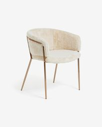 Runnie wihte chair with steel legs and copper finish