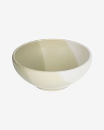 Sayuri large porcelain bowl in green and white