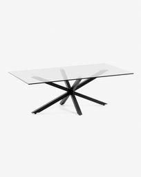 Τραπέζι σαλονιού Argon 130 x 70 εκ, γυαλί, μαύρα πόδια