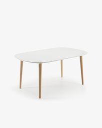 Ανοιγόμενο τραπέζι οβάλ Oqui, 160 (260) x 100 εκ, λευκό