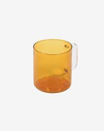 Γυάλινη κούπα Coralie, πορτοκαλί και διάφανο