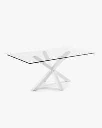 Τραπέζι Argo 200 εκ, γυαλί και λευκά πόδια