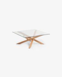 Τραπέζι σαλονιού Kamido 90 x 90 εκ, γυάλινη επιφάνεια, μεταλλικά πόδια με όψη ξύλου