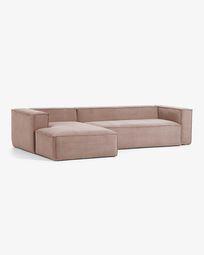 3θ καναπές με ανάκλινδρο αριστερά Blok 330 εκ, ροζ βελούδο