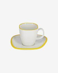 Φλυτζάνι και πιατάκι σε πορσελάνη Odalin, κίτρινο και άσπρο