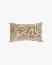 Κάλυμμα μαξιλαριού Devi, 100% βαμβακερό, 30 x 50 εκ, μπεζ και μαύρες ρίγες