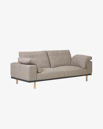 3θ καναπές Noa με μαξιλάρια και πόδια σε φυσικό φινίρισμα 230 εκ, μπεζ