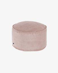 Μεγάλο πουφ Wilma Ø 60 εκ, ροζ κοτλέ